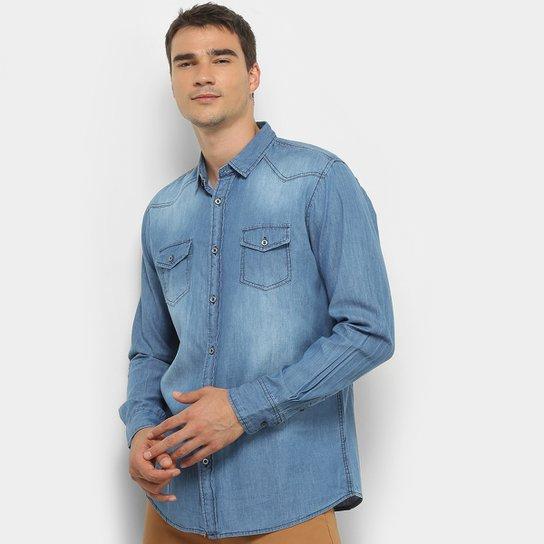 d35e84c586b8 Camisa Jeans Manga Longa Watkins & Krown Estonada Masculina - Azul Claro