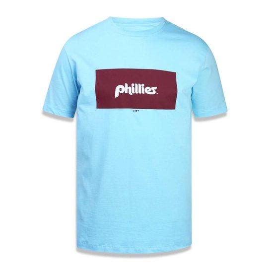 Camiseta Philadelphia Phillies MLB New Era Masculina - Azul Claro ... a0ca2a6ef04