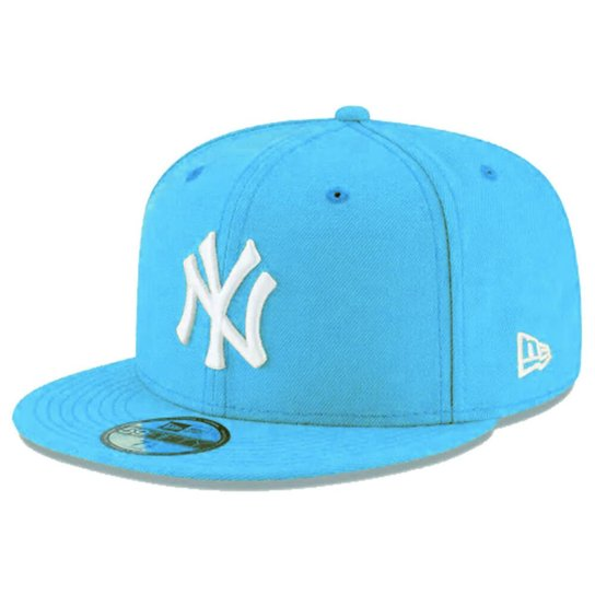 7f1d35e487 Boné New Era Aba Reta Fechado Mlb Ny Yankees Basic Colors - Azul Claro