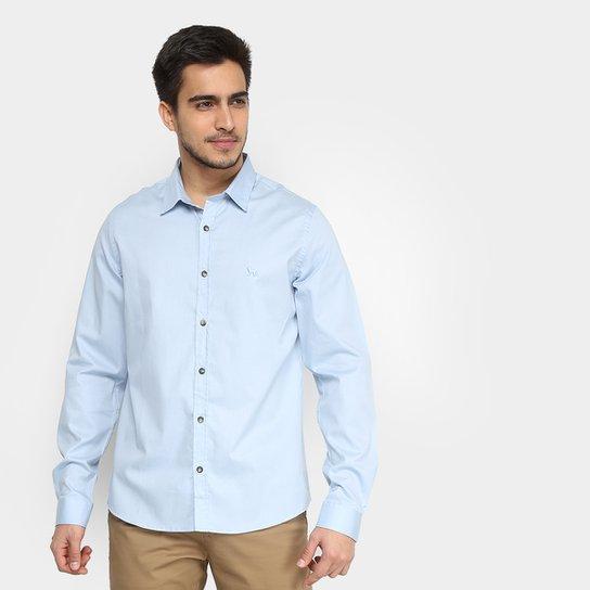 a5ed2230d Camisa Social Acostamento Lisa Manga Longa Masculina - Azul Claro