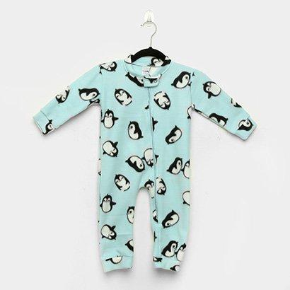Macacão Infantil Candy Kids Pijama Soft Zíper Pinguins