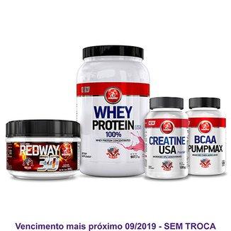 66e877b80 Kit Auxílio Ganho de Massa Whey Protein + Bcaa Pumpmax + Creatina e  Pré-Treino