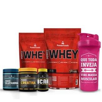 Kit 2 Power Whey 900 g + Creatina 300g + BCAA 120Cáps + Glutamina 300g - PowerFoods + Coquet 700 ml