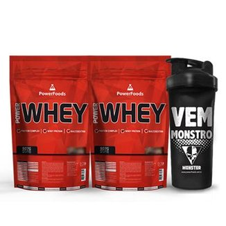 Kit 2 Power Whey 900g + Coqueteleira Vem Monstro 700 ml - PowerFoods