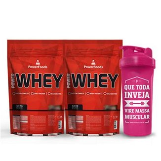 Kit 2 Power Whey 900g + Coqueteleira Massa Muscular 700 ml - PowerFoods