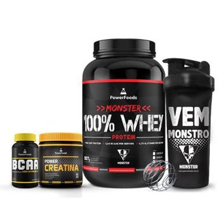 Kit Monster 100% Whey + PowerBCAA + Power Creatina + Coqueteleira  Vem Monstro