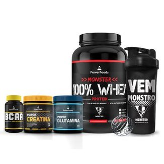 Kit Monster 100% Whey + PowerBCAA + Power Creatina + Power Glutamina + Coqueteleira Vem Monstro