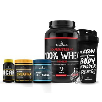 Kit Monster 100% Whey + PowerBCAA + Power Creatina + Power Glutamina + Coqueteleira BodyBuilder