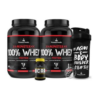 Kit 2x Monster 100% Whey + PowerBCAA + Coqueteleira  BodyBuilder