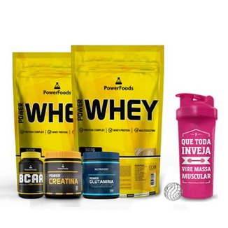 Kit 2 Power Whey 900g + Creatina 300g + BCAA 120Cáps + Glutamina 300g - PowerFoods + Coquet. 700 ml
