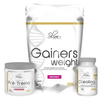 a0740f1a7 Kit Slim Gainers Weight 3kg + Pré Treino 250g + Creatina Pura 100g - Slim