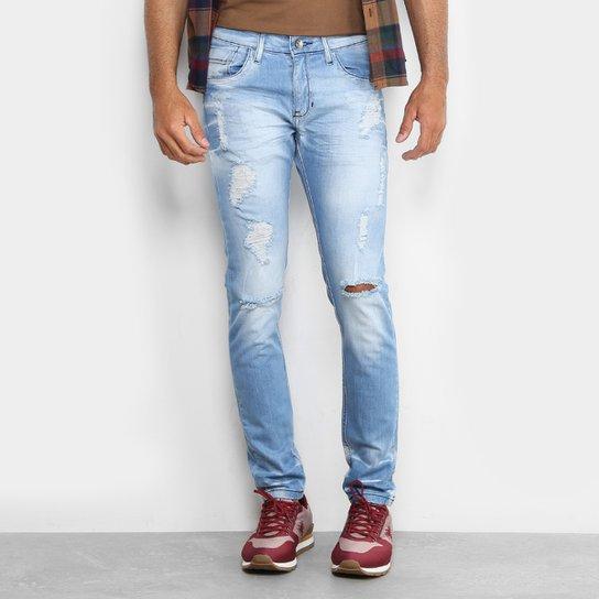 6527b75a3 Calça Jeans Skinny Preston Destroyed Elastano Skinny Masculina - Azul Claro