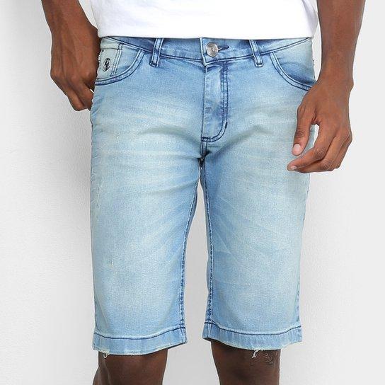 faf875e0abdda Bermuda Jeans Preston Elastano Destroyed Masculina - Azul Claro ...