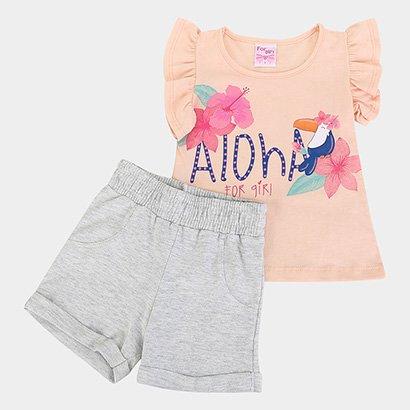 Conjunto Infantil For Girl Blusa M/M Aloha E Short Moletinho-3301
