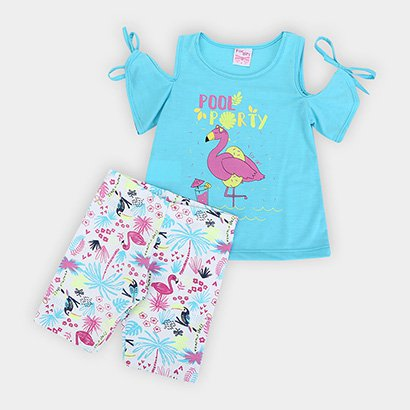 Conjunto Infantil For Girl Flamingo Pool Party Feminino
