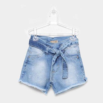 Shorts Jeans Infantil Mox Hot Pants Estonado Barra Desfiada Femnino