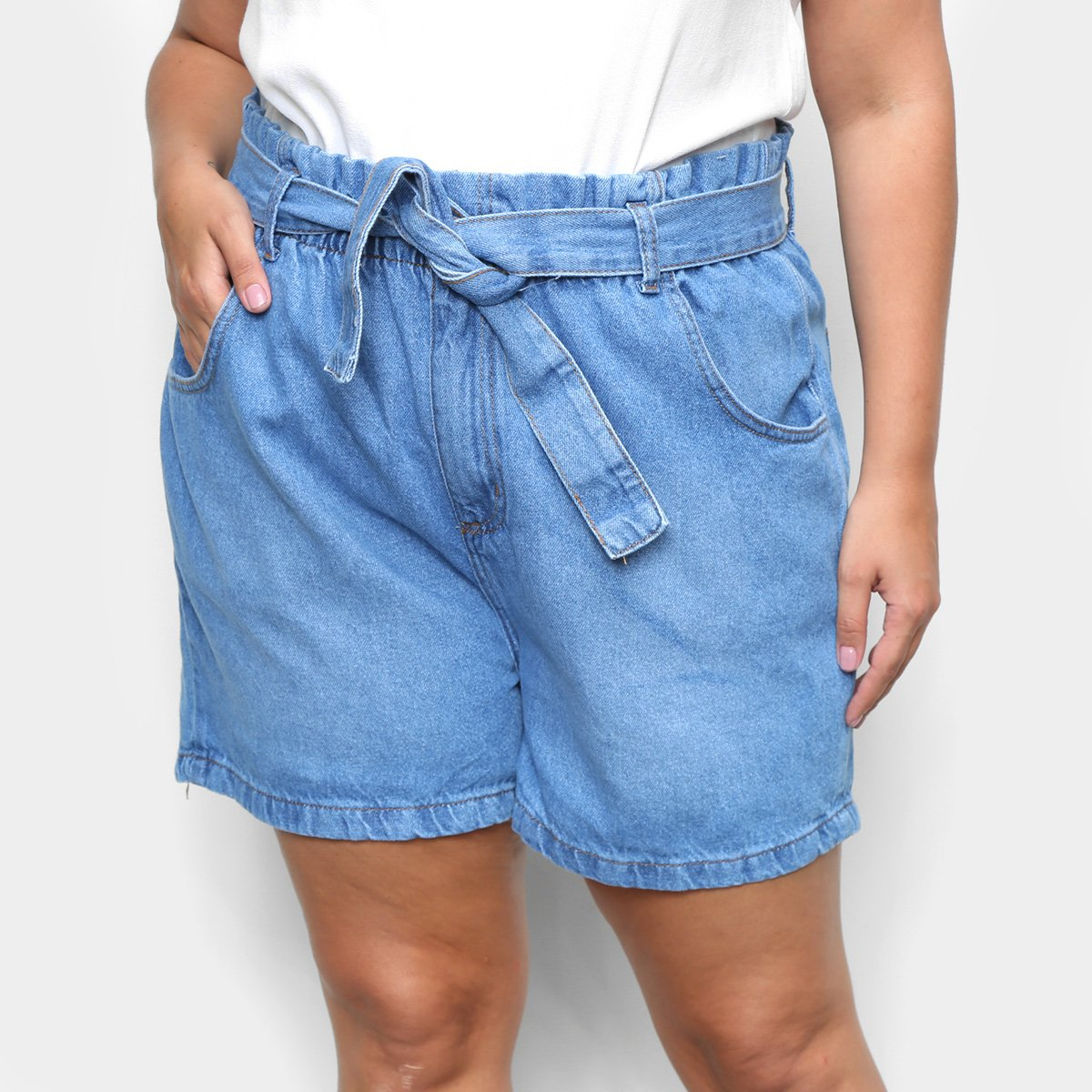 Short Jeans Cambos Plus Size Clochard Feminino