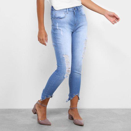 66d53c98e7 Calça Jeans Skinny Drezzup Destroyed Cintura Alta Feminina - Azul Claro