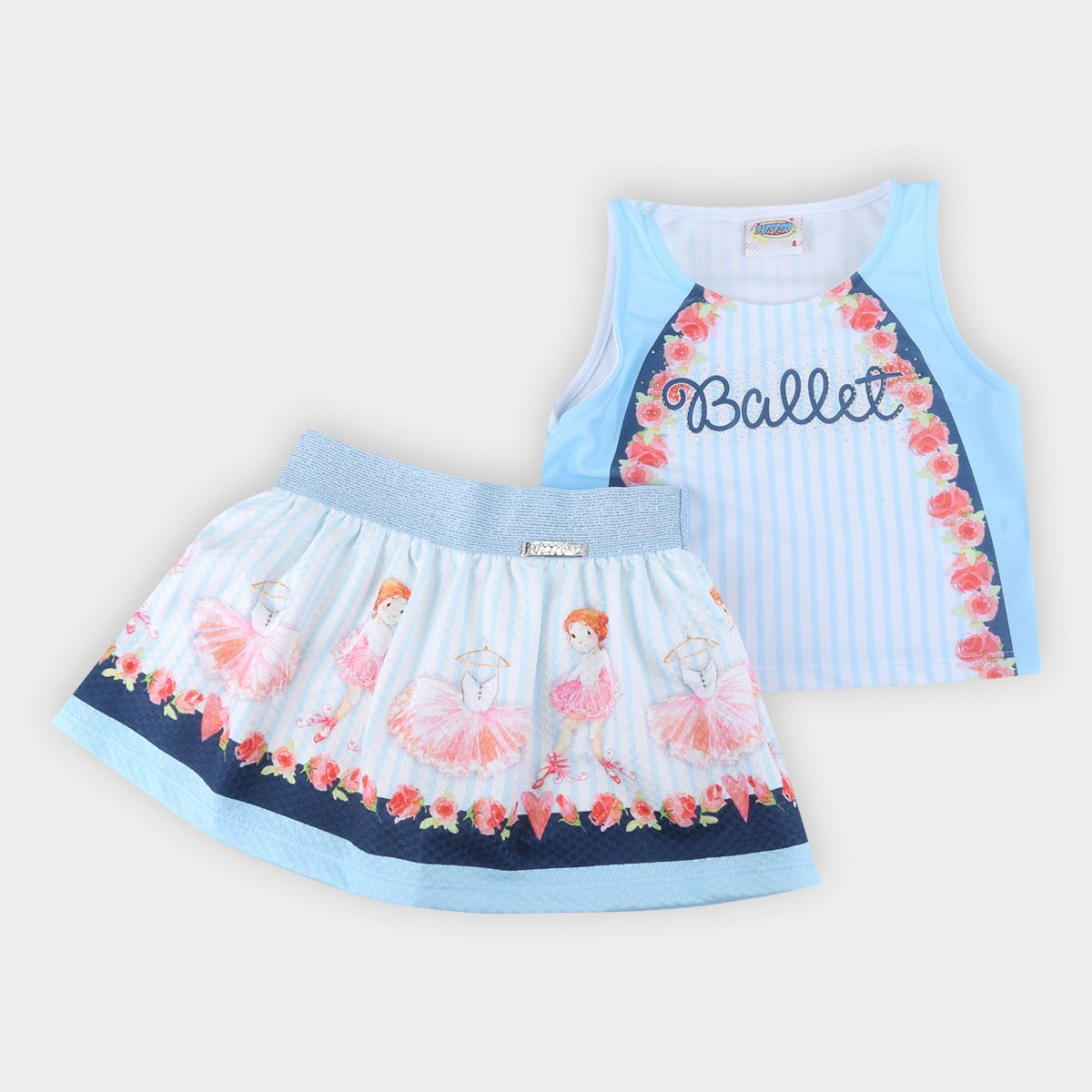 Conjunto Infantil Duzizo Bailarina Regata Cropped + Short Saia Feminino