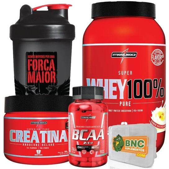 7313e0e73 Kit - Super Whey 100% + Bcaa + Creatina + Coqueteleira + Porta Caps ...