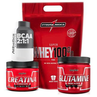 da9d2593c Kit Super Whey 900G +Bcaa + Creatina 150G +Glutamina