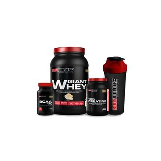 Kit Giant Whey 908 G + 100% Creatine 300 G + BCAA 1,5 Mg 60 Tabs + Coqueteleira - Bodybuilders