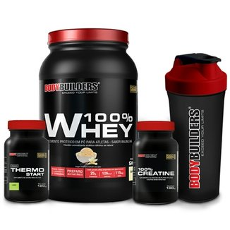 Kit 100% Whey 900g + Thermo Start Powder 120g + Creatine 100g + Coqueteleira Bodybuilders