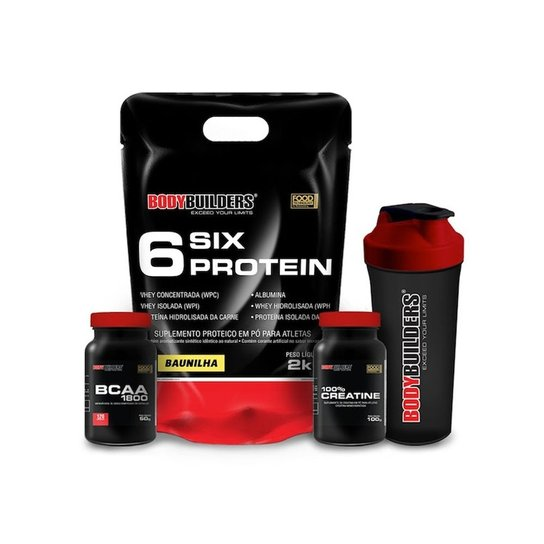 a602d3051 Kit Six Protein 2kg + BCAA 1800 120 caps +Creatine 100g + Coqueteleira  Bodybuilders -