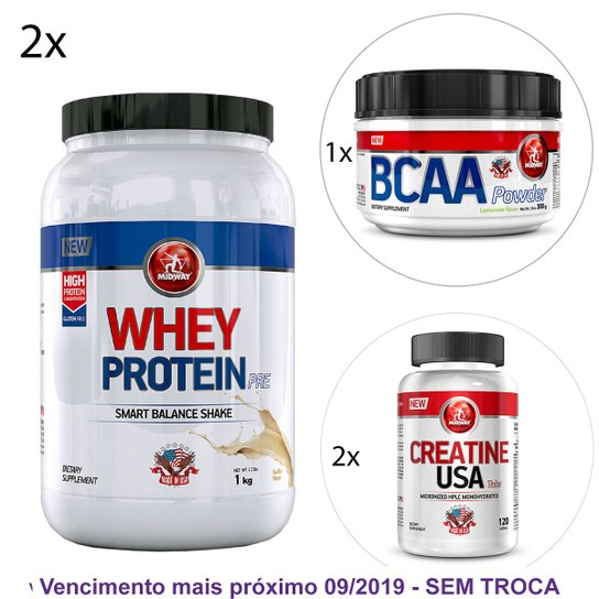 f6a8d7dd1 Kit Midway 2x Whey Protein Pre USA + BCAA Powder USA Hidrossolúvel + 2x  Creatina USA