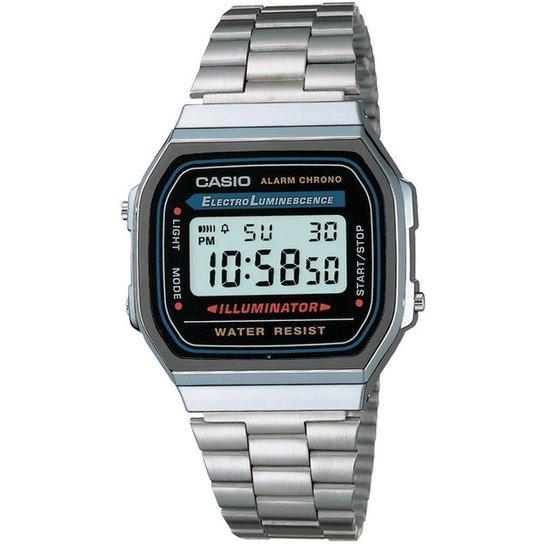 37412bf10ab85 Relógio Feminino Casio Vintage Digital Fashion A168wa 1Wdf - Prata ...