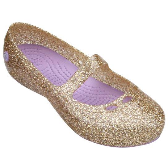 d27205a46a Sapatilha Crocs Carlisa Glitter Flat Infantil - Dourado