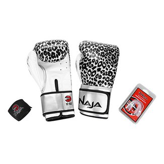 1eaad33ba Kit Naja Luva Boxe  Muay Thai Animal Print Onça Luva Boxe 12 Oz + Bandagem