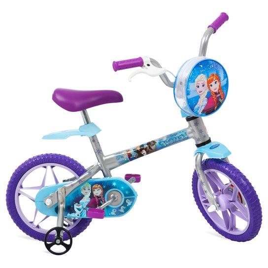 b03a84865 Bicicleta Infantil Aro 12 Bandeirante Frozen Disney - Prata+Lilás