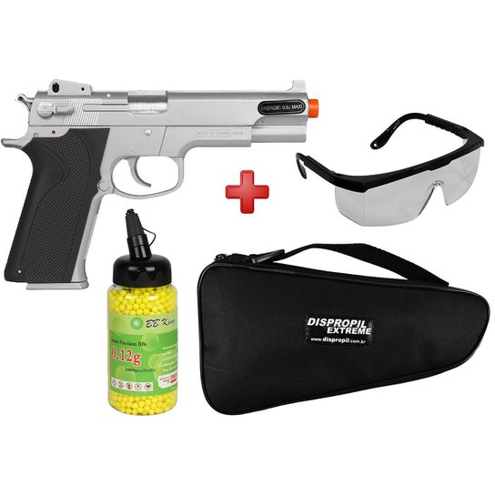 Pistola Airsoft Spring KWC Smith   Wesson M4505 Cromada + Capa + BBs BB  King + a4af2d8983
