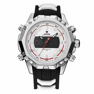 58aa104d098 Relógio Weide Anadigi WH6401 Prata e Branco