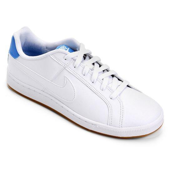 fc759f01068 Tênis Couro Nike Court Royale Masculino - Branco e Azul Claro ...