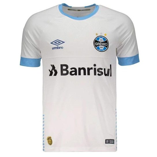 Camisa Grêmio Umbro 2018 Nº7 Masculina - Branco e Azul Claro ... 2aba63abc1157