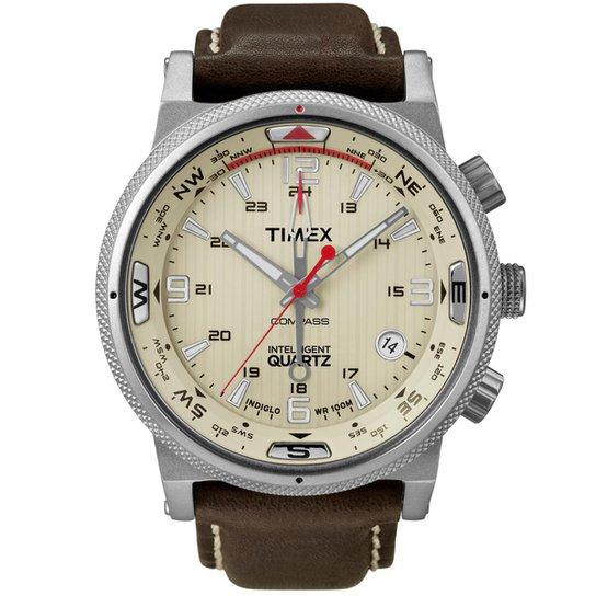 546bd567cee Relógio Timex Masculino IQ Adventure Series T2N725WKL TN Marrom  T2N725WKL TN - Prata