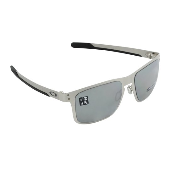 75adc58228 Óculos Oakley Holbrook Metal Satin Chrome Prizm - Prata - Compre ...