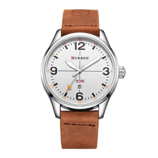 91fe8918f0b Relógio Curren Analógico 8265 E Branco - Prata - Compre Agora