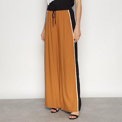Calça Pantalona Triton Listras Laterais Feminina
