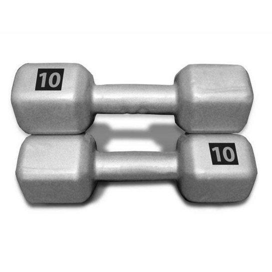 1ea20bb4f Par de Halter Sextavado 10 Kg Fitness - Prata