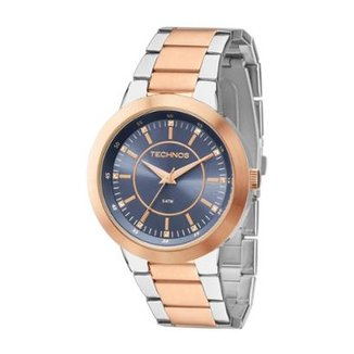 ff63216be5237 Relógio Feminino Technos Ladies 2035MFG 5A 40mm Bicolor Prata Rosê