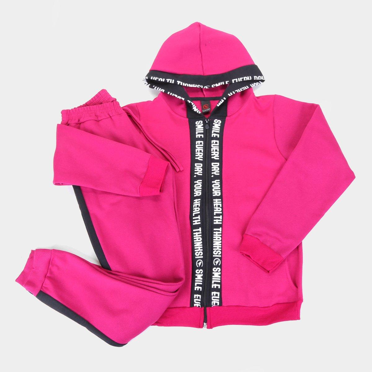 Conjunto Agasalho Infantil Costão Jaqueta Com Capuz E Calça Feminino