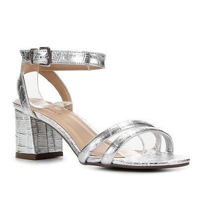 Sandália Couro Shoestock Croco Metalizada Feminina
