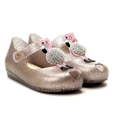 Sapatilha Infantil World Colors Glitter Aplique Flamingo Velcro Feminina