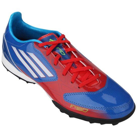 36706c5c4e959 Chuteira Adidas F10 TRX TF - Azul+Vermelho