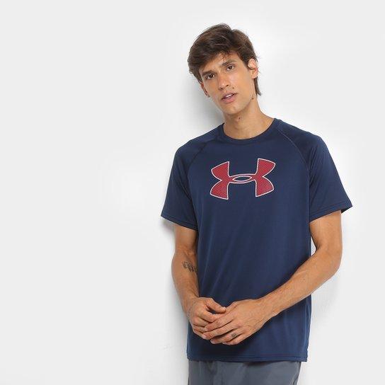 b6671bceb20 Camiseta Under Armour Big Logo Masculina - Azul e Vermelho - Compre ...