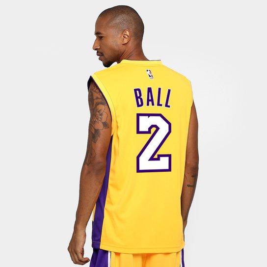 Camiseta Regata NBA Adidas Los Angeles Lakers Home - Ball - Amarelo+Roxo c307f78564b