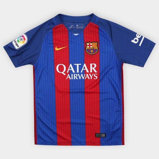 43bda86f25 Camisa Barcelona Infantil Home 16 17 s nº Torcedor Nike - Azul+Vermelho